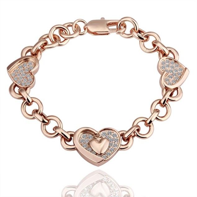 Gold Plated Hearts Interlocking Bracelet with Austrian Crystal
