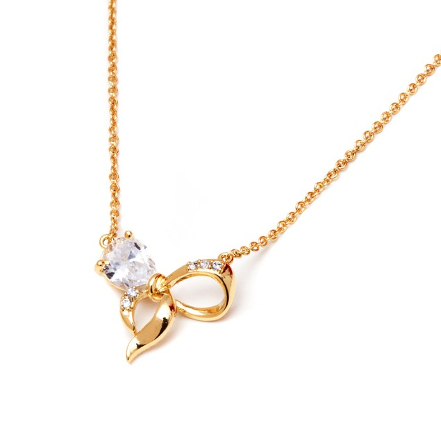 Gold & Crystal Bow Necklace Made with Swarovski Elements