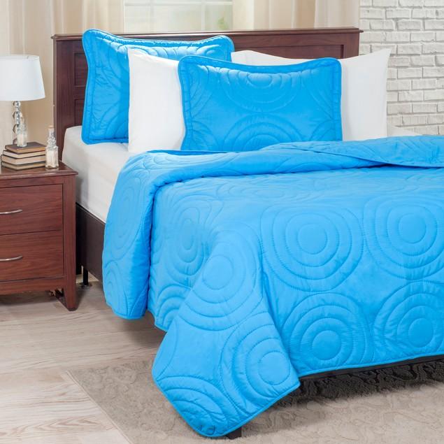 Lavish Home Solid Embossed 3 Piece Quilt Set