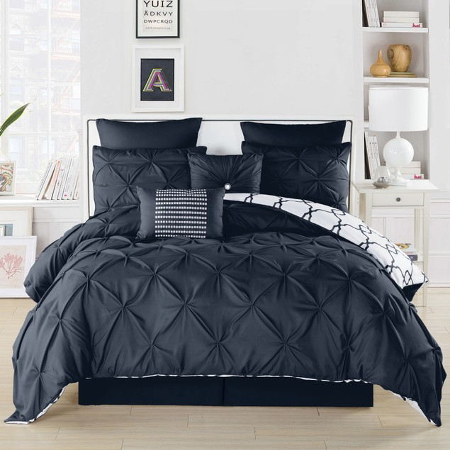 Ruthy's Textile 3-Piece Pintuck Printed Reversible Duvet Cover Set