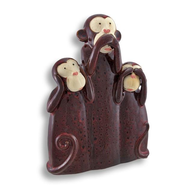 Brown Ceramic Hear, Speak, See No Evil Monkeys Statues