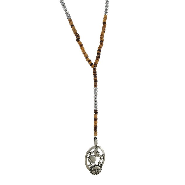 Celestial Sun Moon And Stars Wood And Silver Bead Mens Y Shaped Necklaces