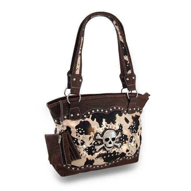 Brown Cow Print Rhinestone Skull Western Style Womens Shoulder Handbags