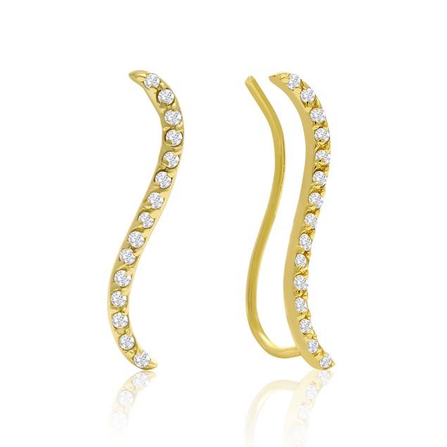 Gold Tone 1/3 Carat Diamond Swirl Ear Climbers