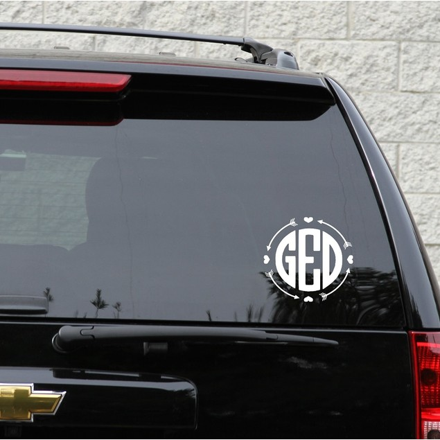 Arrow and Hearts Frame Monogram Decal