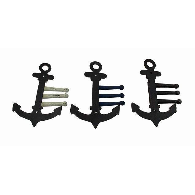 Set Of 3 Distressed Finish Cast Iron Anchor 3 Decorative Wall Hooks