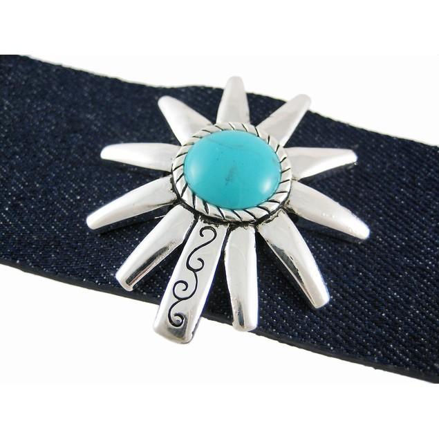 Dark Blue Denim Silver Finish Turquoise Spur Womens Bracelets