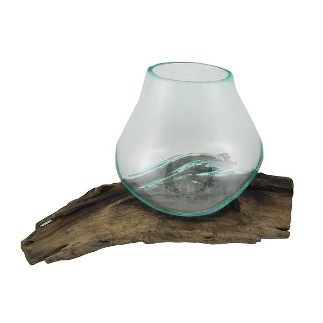 Glass On Teak Driftwood Molten Sculptural Decorative Vases