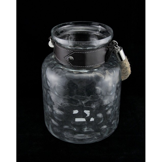 Dimpled Glass Candle Lantern/Vase W/Leather Look Decorative Candle Lanterns