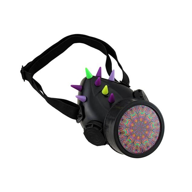 Fluorescent Spiked Uv Reactive Respirator Mens Costume Accessories