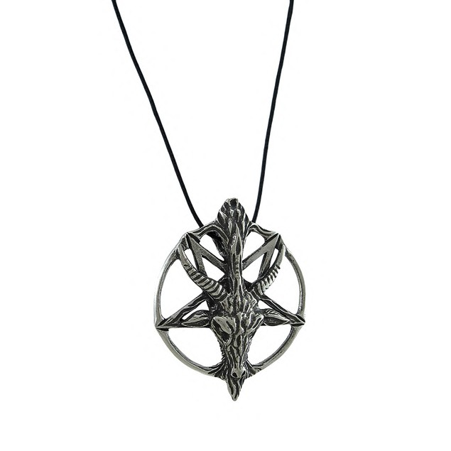 Large Silver Finished Pentacle Of The Goat Pendant Womens Pendant Necklaces