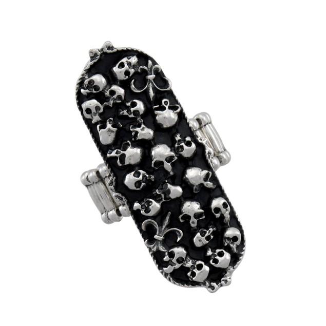 Black And Chrome Gothic Boneyard Stretch Ring Rings