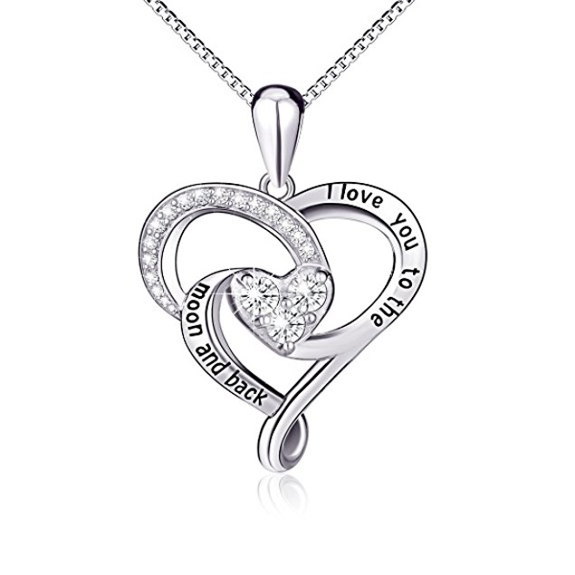 I Love You to the Moon & Back Crystal Necklace