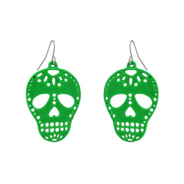 Green Enamel Sugar Skull Dangle Earrings Dod Dangle Earrings