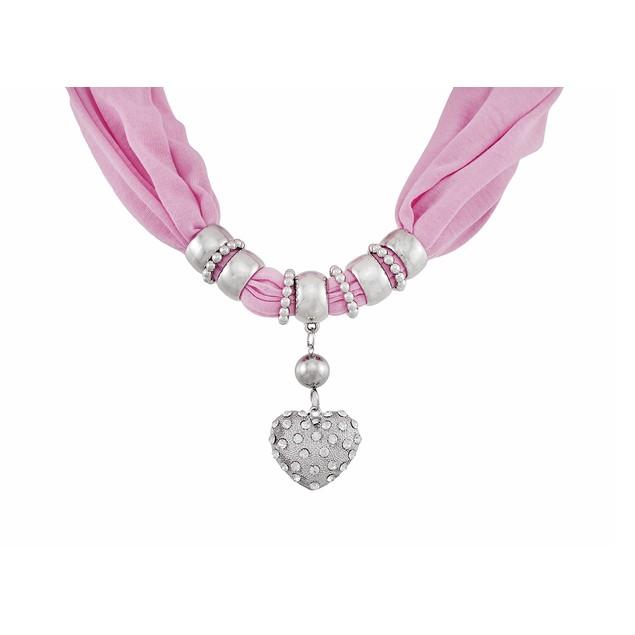 Bright Pink Rhinestone Heart Pendant Scarf Jewelry Womens Fashion Scarves