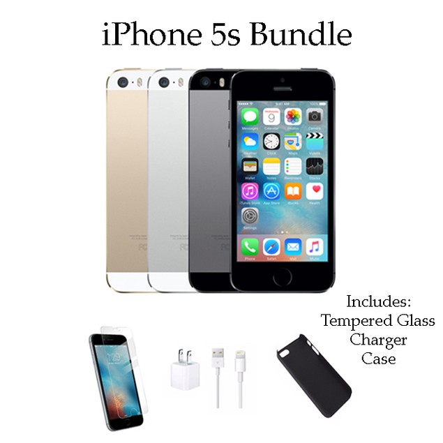 iPhone 5S 64GB Factory Unlocked Bundle (Charger, Tempered Glass, Case)