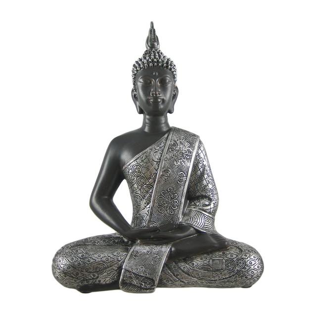 Silver Finished Thai Buddha Altar Statue Buddhism Statues