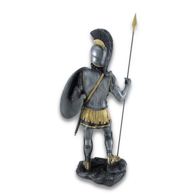 Spartan Warrior With Spear And Hoplite Shield Statues