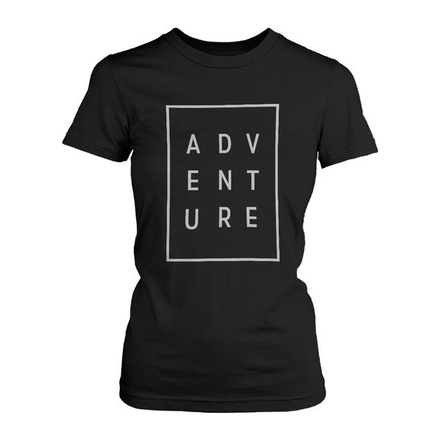 Adventure Women's T-shirt Trendy Typographic Tee Cute Short sleeve Shirt