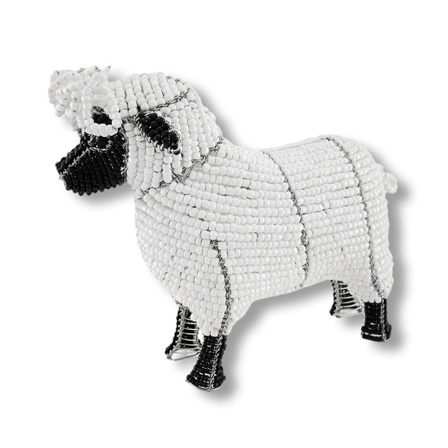 Beadworx White And Black Glass Bead Sheep Statues