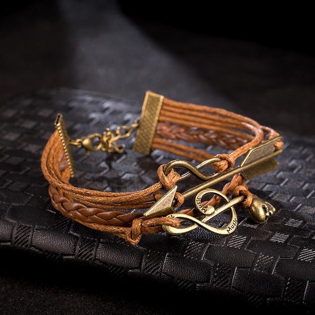 Brown Leather Arrow Head Love Bracelet