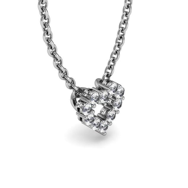 Sterling Silver 1/3 Carat Diamond Heart Necklace