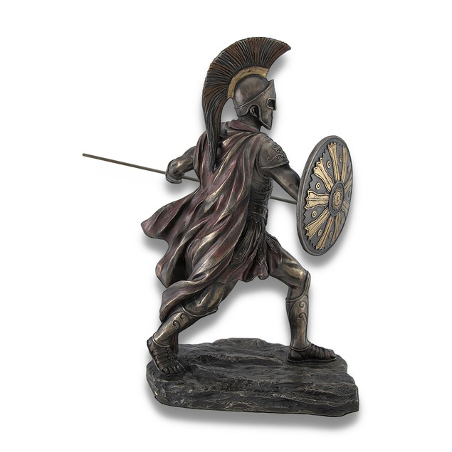 Achilles Rage Bronze Statue With Spear And Shield Statues