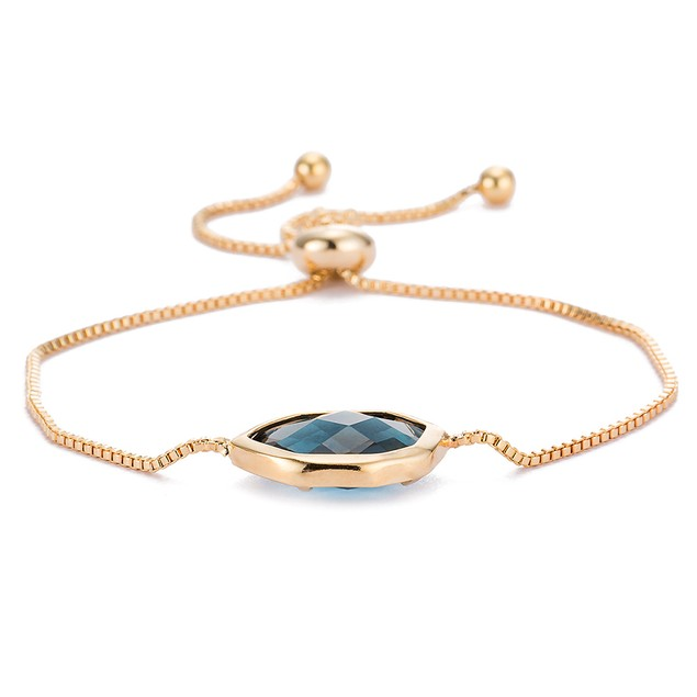 Gold Plated Hectagon Shaped Sapphire Gem Bracelet