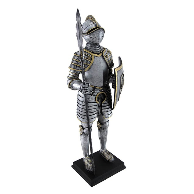 Medieval Armor Knight With Poleaxe And Shield Statues