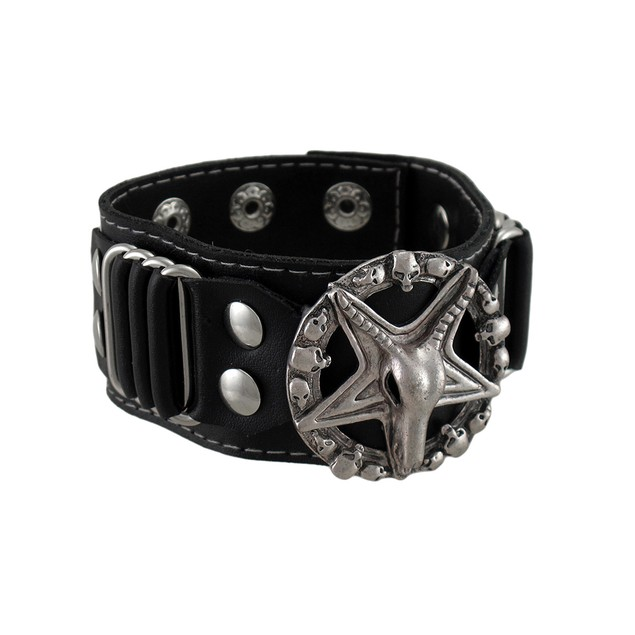 Evil Sigil Of Baphomet Black Leather Wristband Mens Leather Bracelets