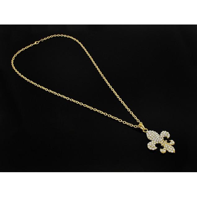 Gold Tone Rhinestone Fleur De Lis Necklace 28 In. Womens Pendant Necklaces