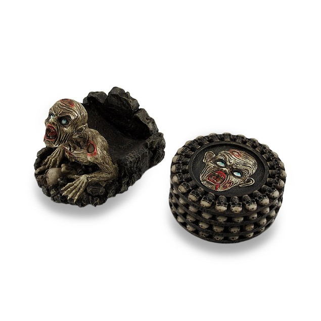 Set Of 4 Zombie And Skulls Coasters W/Sculptural Coasters