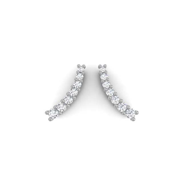 14k White Gold 1/5ct Diamond Ear Climbers