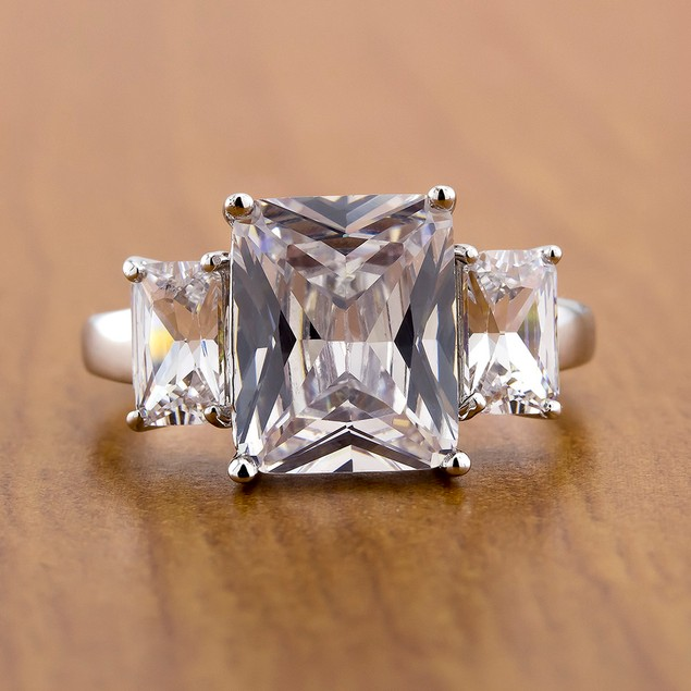 10cttw Radiant-Cut CZ 3-Stone Cocktail Ring