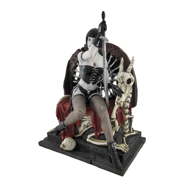 Gothic Lady Warrior With Sword On Skull And Bone Statues
