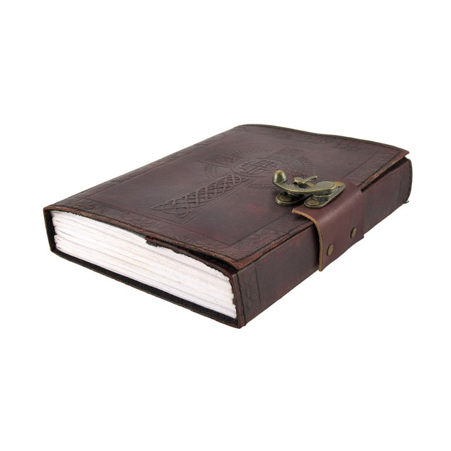 Embossed Leather Celtic Cross 120 Leaf Journal with Lock