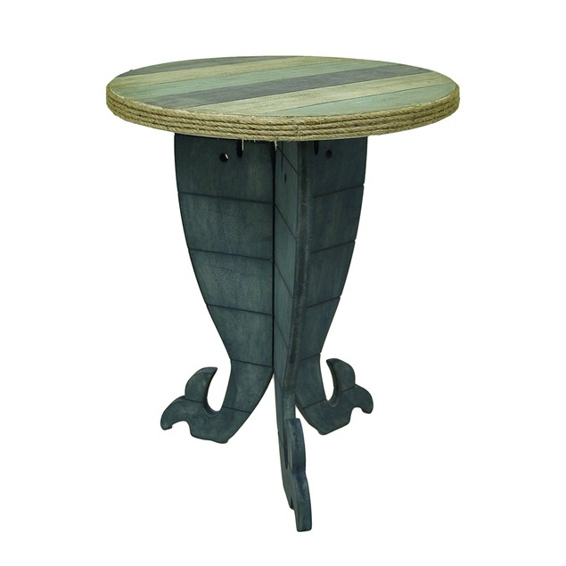 Triple Whale Round Wooden Striped Accent Table 30 Accent Tables
