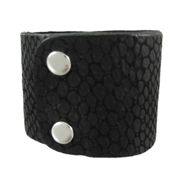 Black Leather Lizard Texture Wristband Bracelet Mens Leather Bracelets