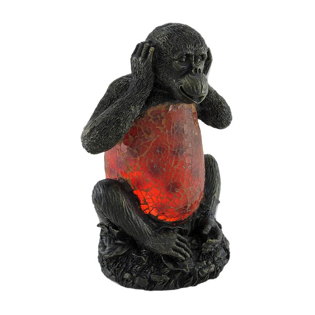 `Hear No Evil` Monkey Crackle Glass Accent Lamp Accent Lamps