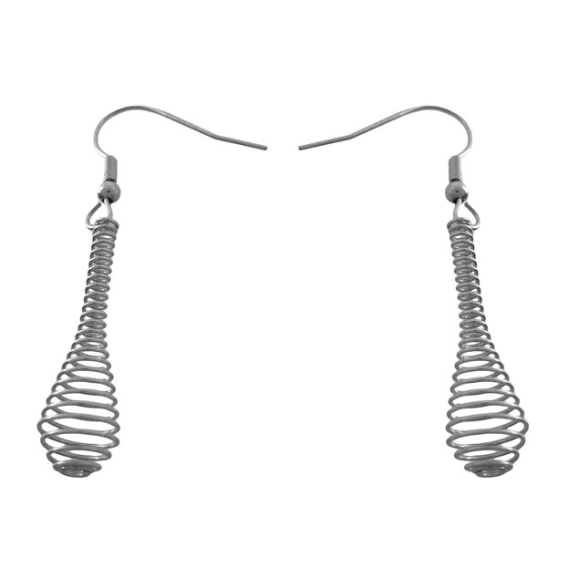 Silvertone Spiral Wire Drop Necklace / Earrings Womens Earring And Necklace