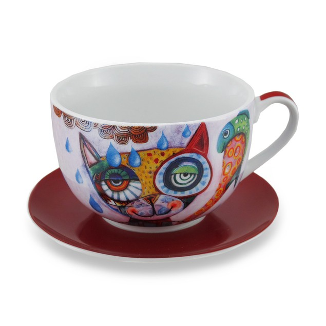 Allen Designs Colorful Cat And Fish Ceramic Coffee Drinkware Cups With