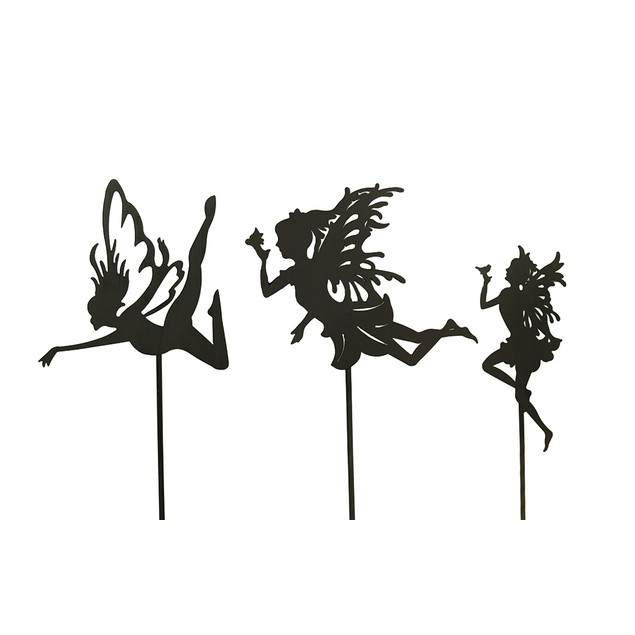3 Pc. Rust Finish Fairy Silhouette Metal Garden Garden Stakes