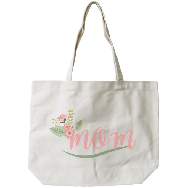 Mom Canvas Bag With Flower