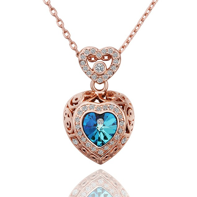 Rose Gold Plated Double Heart Chamber Blue Necklace