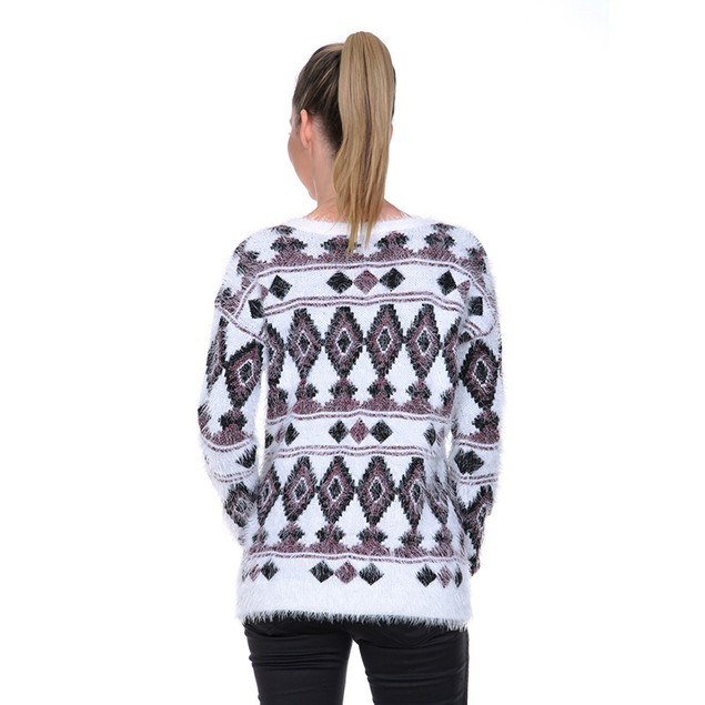 White Mark Women's Fuzzy Aztec Print Sweater