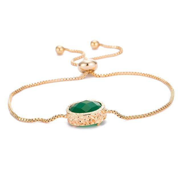 Gold Plated Emerald Gem Bracelet