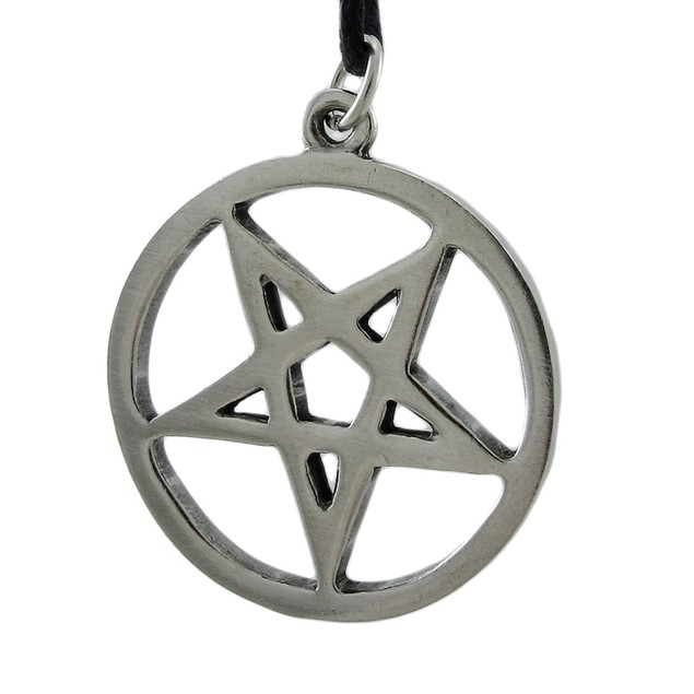 Silver Finished Inverted Pentagram Pendant W/ Cord Mens Pendant Necklaces