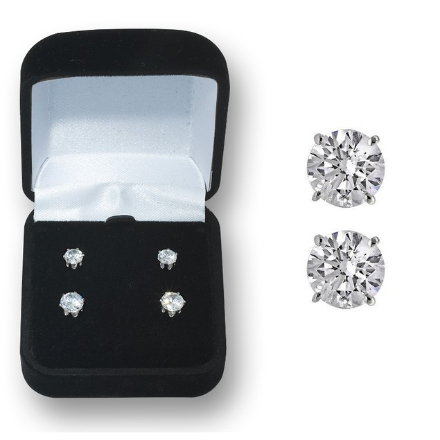 2 Piece Swarovski Elements Gift Set: Brass Round Studs (4mm & 6mm)