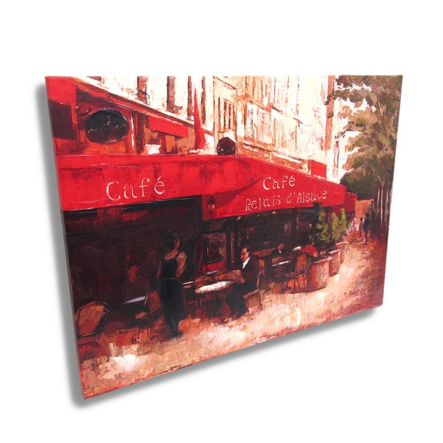 French Sidewalk Cafe Canvas Wall Art Print Prints
