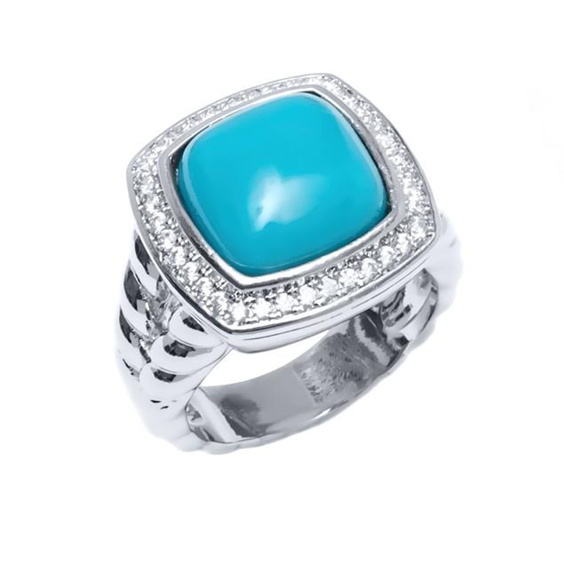 Designer Inspired Turquoise Square Ring